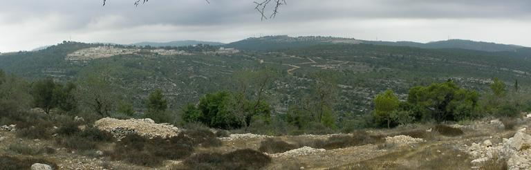 Вид на заповедник  Нахаль Кфира и поселок Натаф